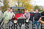Back firing.-----------.enjoying the annual autumn weekend run organised by Kingdom,vintage,veteran&classic car club last Saturday morning outside the Kenmare Bay hotel were L-R PJ Brosnan(Listowel)with Mike Maloney,Tom Slattery and Jerry Casey all Tralee.