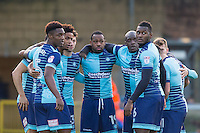 Wycombe players come together for a pre match team huddle before the Sky Bet League 2 match between Wycombe Wanderers and Yeovil Town at Adams Park, High Wycombe, England on 14 January 2017. Photo by Andy Rowland / PRiME Media Images.