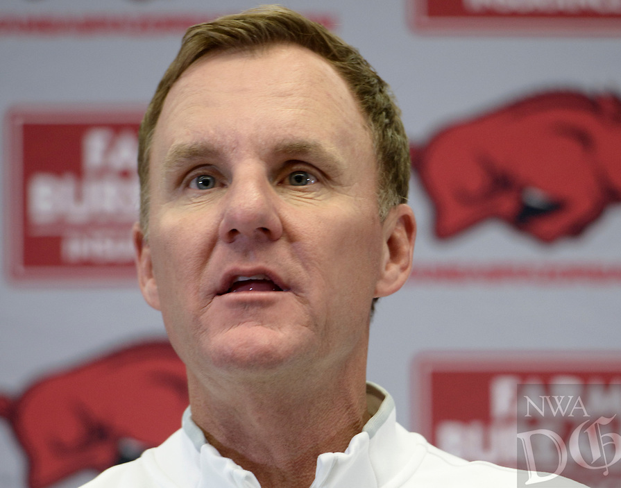 NWA Democrat-Gazette/CHARLIE KAIJO Razorbacks Head Coach Chad Morris speaks to media during a media day, Saturday, August 4, 2018 at the Razorbacks practice field in Fayetteville.