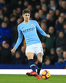 6th February 2019, Goodison Park, Liverpool, England; EPL Premier League Football, Everton versus Manchester City; John Stones of Manchester City passes the ball forward out of defence