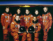 Houston, TX (FILE) -- The undated STS-45 mission official crew portrait includes Brian Duffy, pilot (seated on left); and Charles F. Bolden, Jr., commander (seated on right). Standing on the back row (left to right) are Byron K. Lichtenberg, payload specialist 1; C. Michael Foale, mission specialist 3; David C. Leestma, mission specialist 2; Kathryn D. Sullivan, payload commander; and Dirk D. Frimout, payload specialist 2. The primary payload for the mission was the Atmospheric Laboratory for Applications and Science-1 (ATLAS-1). The mission launched aboard the Space Shuttle Atlantis on March 24, 1992 at 8:13:40am (EST).  Bolden currently is the Administrator of the National Aeronautics and Space Administration (NASA)..Credit: NASA via CNP