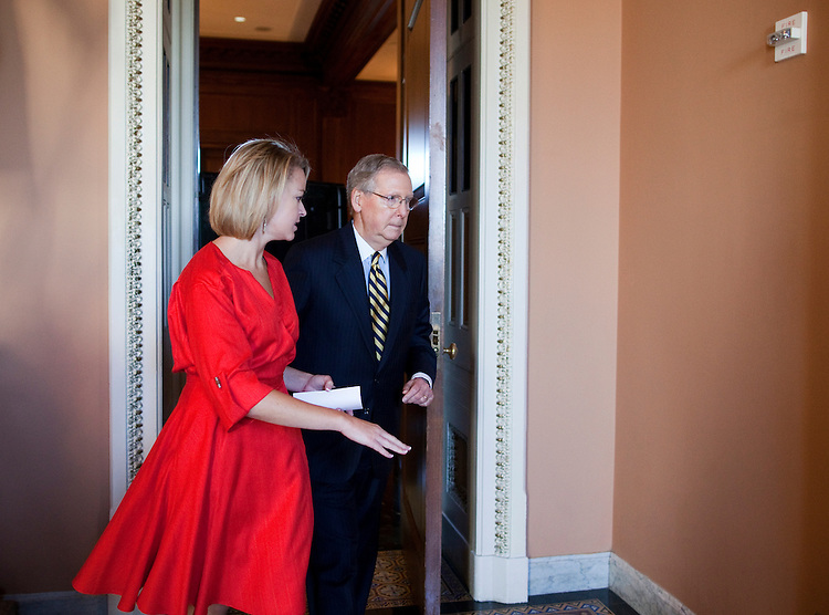 UNITED STATES - JULY 27: Senate Minority Leader Mitch McConnell, R-Ky., leaves a Senate Republicans' lunch in the Mansfield Room on Wednesday, July 27, 2011. (Photo By Bill Clark/Roll Call)