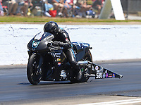 May 14, 2016; Commerce, GA, USA; NHRA pro stock motorcycle rider David Hope during qualifying for the Southern Nationals at Atlanta Dragway. Mandatory Credit: Mark J. Rebilas-USA TODAY Sports