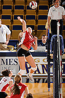 20 November 2008:  WKU middle hitter Emily Teegarden (31) hits a kill shot during the WKU 3-0 victory over Denver in the first round of the Sun Belt Conference Championship tournament at FIU Stadium in Miami, Florida.