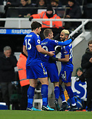 9th December 2017, St James Park, Newcastle upon Tyne, England; EPL Premier League football, Newcastle United versus Leicester City; Riyad Mahrez of Leicester City is congratulated by Jamie Vardy and Harry Maguire of Leicester City after equalising in the 20th minute