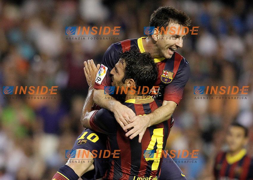 FC Barcelona's Leo Messi (t) and Cesc Fabregas celebrate goal during La Liga match.September 1,2013. (ALTERPHOTOS/Acero) <br /> Football Calcio 2013/2014<br /> La Liga Spagna<br /> Foto Alterphotos / Insidefoto <br /> ITALY ONLY