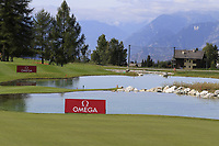 The 13th hole during Thursday's Round 1 of the 2017 Omega European Masters held at Golf Club Crans-Sur-Sierre, Crans Montana, Switzerland. 7th September 2017.<br /> Picture: Eoin Clarke | Golffile<br /> <br /> <br /> All photos usage must carry mandatory copyright credit (&copy; Golffile | Eoin Clarke)