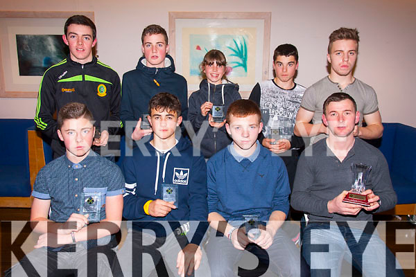 Awards<br /> --------<br /> Pictured at the Kerry Hurling awards night in Ballyroe Hts hotel last Friday night were (seated) L-R Gary Carey,Niall O'Mahony,Gearoid Mahoney&amp;John Egan (back) L-R Eric Lee,Brendan Walsh,Caoimhe Spillane,Eric Daly&amp;John Quilter.