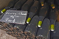 Bottles aging in the cellar. Gevrey magnum 2004. Domaine Philippe Livera, Gevrey Chambertin, Cote de Nuits, d'Or, Burgundy, France