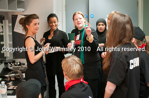 "Discussing what make up is needed.  Special Olympics Surrey put on a show,   ""Beyond the Stars"", at the Rose Theatre, Kingston upon Thames to raise money for the  SOGB team.  The Special Olympics are for athletes with learning disabilities."