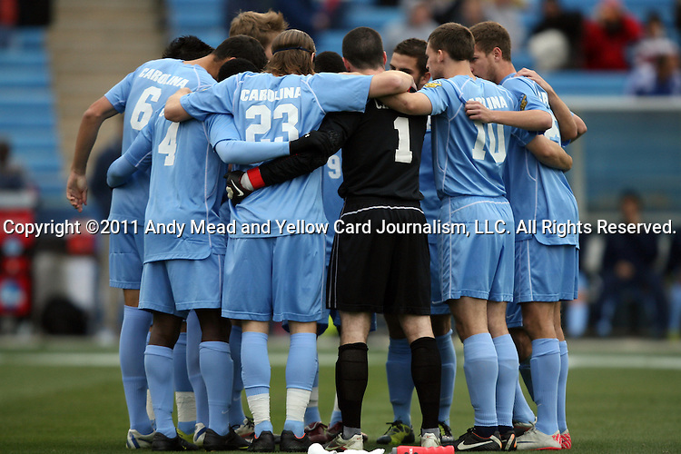 11 December 2011: UNC's starters huddle before the game. The University of North Carolina Tar Heels defeated the University of North Carolina Charlotte 49ers 1-0 at Regions Park in Hoover, Alabama in the NCAA Division I Men's Soccer College Cup Final.