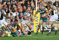 Leicester, England. Nick Evans of Harlequins breaks away  during the Aviva Premiership match between Leicester Tigers and Harlequins at Welford Road on September 22, 2012 in Leicester, England.
