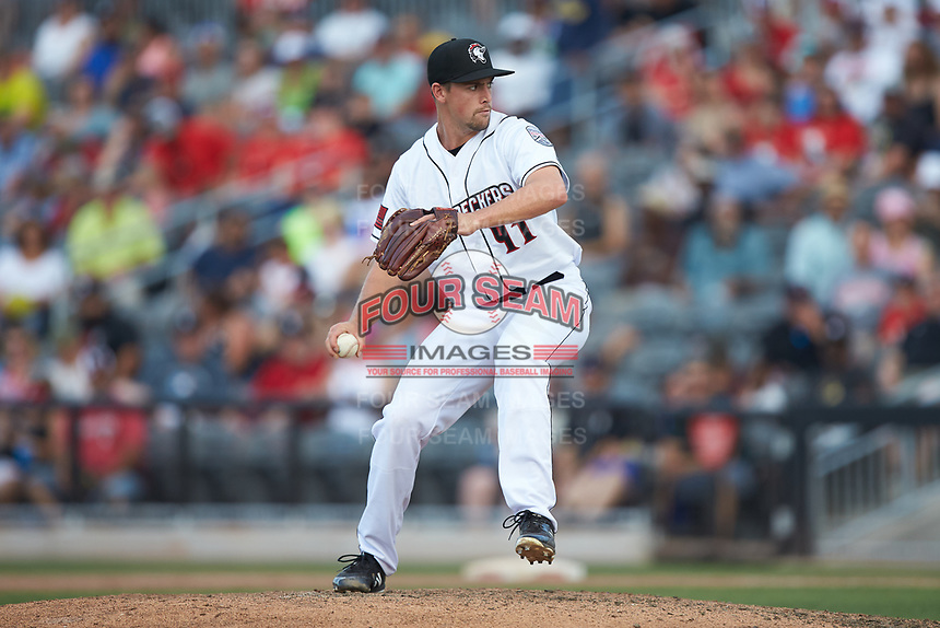 Fayetteville Woodpeckers relief pitcher Tommy DeJuneas (41) in action against the Carolina Mudcats at SEGRA Stadium on May 18, 2019 in Fayetteville, North Carolina. The Mudcats defeated the Woodpeckers 6-4. (Brian Westerholt/Four Seam Images)