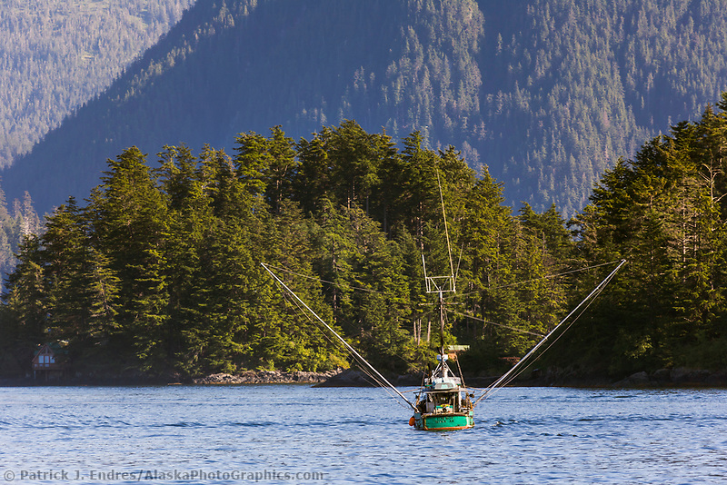 Commercial fishing trolling vessel in Sitka Sound, Sitka, Baranof Island, southeast, Alaska.