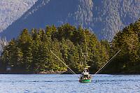 Commercial fishing trolling vessel in Sitka Sound, Sitka, Baranof Island, southeast, Alaska.