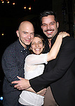 Michael Cerveris, Elena Roger & Ricky Martin.attending the Broadway Opening Night Actors' Equity Gypsy Robe Ceremony for recipient Matt Wall in 'EVITA' at the Marquis Theatre in New York City on 4/6/2012