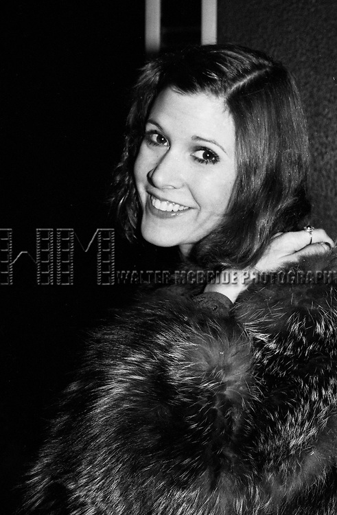 Carrie Fisher attends a Broadway show on November 2, 1979  in New York City.
