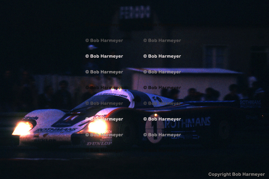 LE MANS, FRANCE: The Porsche 956 002 of Jacky Ickx and Derek Bell being driven to victory in the 24 Hours of Le Mans on June 20, 1982, at Circuit de la Sarthe in Le Mans, France.