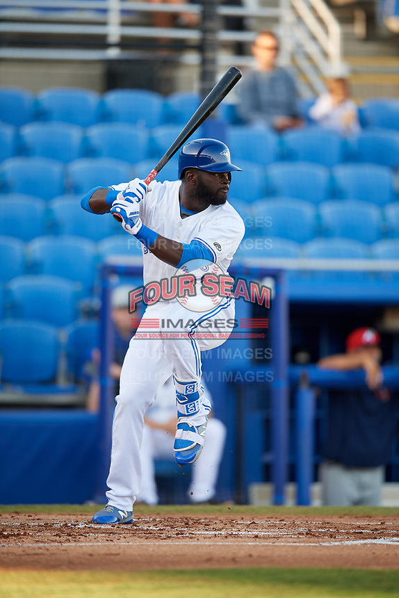 Dunedin Blue Jays center fielder Anthony Alford (43) at bat during a game against the Fort Myers Miracle on April 17, 2018 at Dunedin Stadium in Dunedin, Florida.  Dunedin defeated Fort Myers 5-2.  (Mike Janes/Four Seam Images)