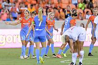 Houston, TX - Saturday July 30, 2016: Rachel Daly celebrates scoring, Rebecca Moros during a regular season National Women's Soccer League (NWSL) match between the Houston Dash and the Western New York Flash at BBVA Compass Stadium.