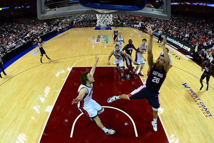 March 5, 2012; Las Vegas, NV, USA; Gonzaga Bulldogs forward Elias Harris (20) shoots the ball against the Saint Mary's Gaels during the WCC Basketball Championships at Orleans Arena.