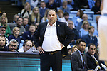CHAPEL HILL, NC - FEBRUARY 12: Notre Dame head coach Mike Brey. The University of North Carolina Tar Heels hosted the University of Notre Dame Fighting Irish on February 12, 2018 at Dean E. Smith Center in Chapel Hill, NC in a Division I men's college basketball game. UNC won the game 83-66.