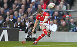 Leigh Halfpenny kicks a long range penalty for Wales..RBS 6 Nations 2012.England v Wales.Twickenham.25.02.12.Credit: STEVE POPE - Sportingwales