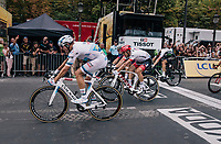 Alexander Kristoff (NOR/UAE) wins the bunch sprint over the famous Champs-Élysées cobbles ahead of John Degenkolb (DEU/Trek-Segafredo) & Arnaud Démare (FRA/Groupama-FDJ)<br /> <br /> Stage 21: Houilles > Paris / Champs-Élysées (115km)<br /> <br /> 105th Tour de France 2018<br /> ©kramon