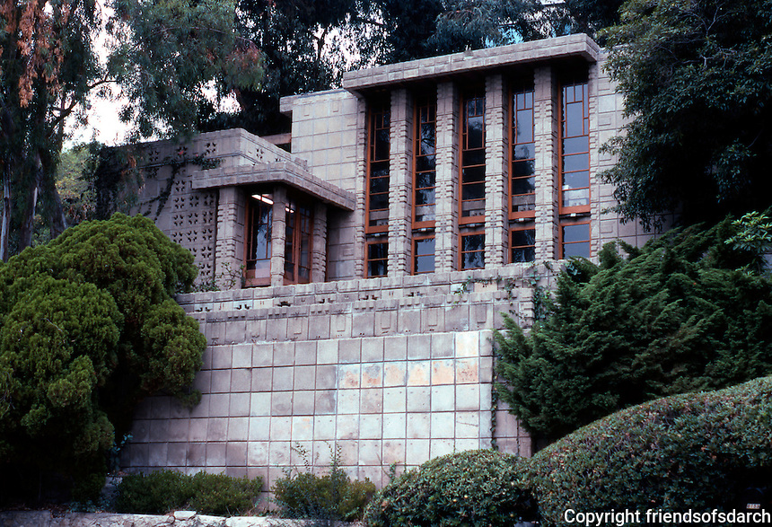 F.L. Wright: Storer House, 1923. 8161 Hollywood Blvd.   Photo '82.