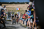 Serge Pauwels (BEL) Team Dimension Data and Damien Howson (AUS) Mitchelton-Scott part of the breakaway group during Stage 15 of the 2018 Tour de France running 181.5km from Millau to Carcassonne, France. 22nd July 2018. <br /> Picture: ASO/Pauline Ballet | Cyclefile<br /> All photos usage must carry mandatory copyright credit (&copy; Cyclefile | ASO/Pauline Ballet)