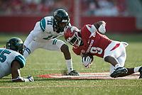NWA Democrat-Gazette/CHARLIE KAIJO Arkansas Razorbacks wide receiver De'Vion Warren (9) collides with Coastal Carolina Chanticleers safety Nicholas Clark (11) during a football game on Saturday, November 4, 2017 at Razorback Stadium in Fayetteville