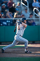 Tri-City Dust Devils left fielder Tyler Benson (3) follows through on his swing during a Northwest League game against the Everett AquaSox at Everett Memorial Stadium on September 3, 2018 in Everett, Washington. The Everett AquaSox defeated the Tri-City Dust Devils by a score of 8-3. (Zachary Lucy/Four Seam Images)