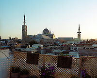 The view from the roof terrace takes in the mosque and the flat roofs of the neighbouring houses