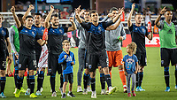 SAN JOSE, CA - AUGUST 25: San Jose Earthquakes players celebrate victory with the fans. during a game between Vancouver Whitecaps FC and San Jose Earthquakes at Avaya Stadium on August 24, 2019 in San Jose, California.