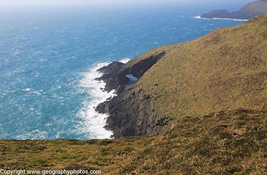 Natural arch in cliffs, Cape Clear Island, County Cork, Ireland, Irish Republic