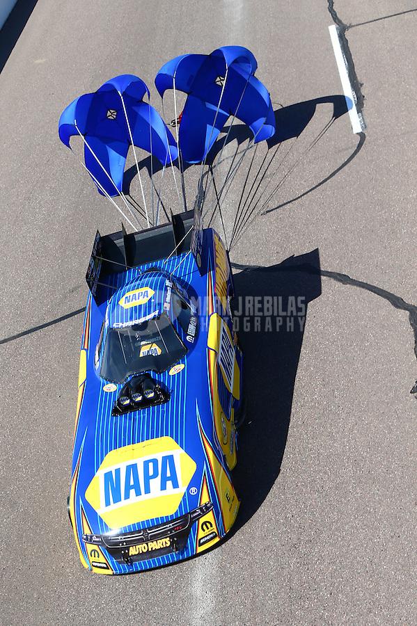 Feb 28, 2016; Chandler, AZ, USA; NHRA funny car driver Ron Capps during the Carquest Nationals at Wild Horse Pass Motorsports Park. Mandatory Credit: Mark J. Rebilas-