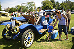 Old Westbury, New York, U.S. - June 1, 2014 -  A blue 1910 White, G model, is an entry at the Antique and Collectible Auto Show held on the historic grounds of elegant Old Westbury Gardens in Long Island, and sponsored by Greater New York Region AACA Antique Automobile Club of America.