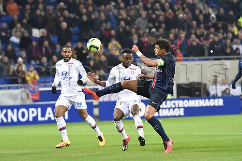 28.02.2016. Lyon, France. French League 1 football. Olympique Lyon versus Paris St Germain.  Maxwel Cornet (lyon) and Thiago Silva (psg)