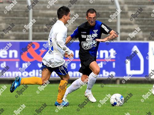 2010-08-22 / Voetbal / seizoen 2009-2010 / Rupel-Boom - Grimbergen / Davy de Smedt (r, Rupel-Boom) met Da Silva..Foto: Mpics