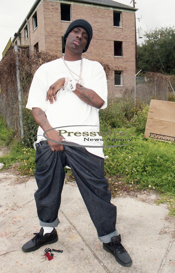 Turk of the Cash Money Hot Boys in front of the Magnolia Projects in New Orleans, La.  Photo credit: Elgin Edmonds/ Presswire News