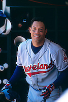OAKLAND, CA - Portrait of Roberto Alomar of the Cleveland Indians in the dugout during a game against the Oakland Athletics at the Oakland Coliseum in Oakland, California in 1999. Photo by Brad Mangin