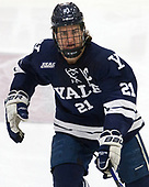 John Hayden (Yale - 21) - The Harvard University Crimson tied the visiting Yale University Bulldogs 1-1 on Saturday, January 21, 2017, at the Bright-Landry Hockey Center in Boston, Massachusetts.