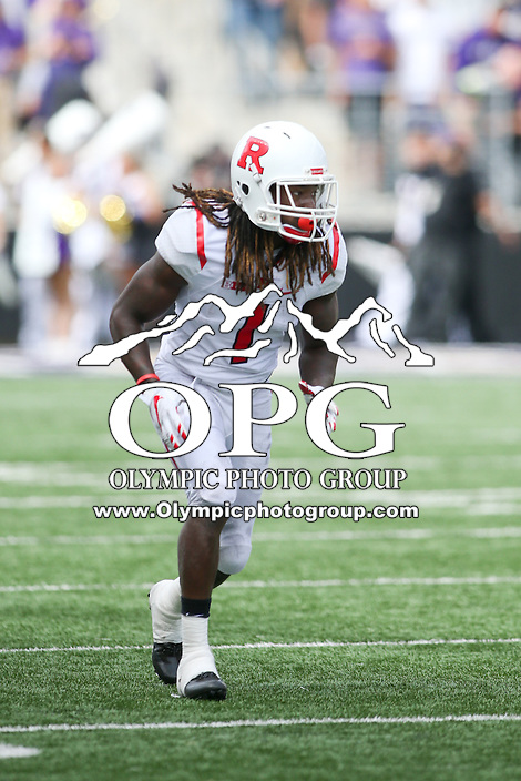 03 September 2016:  Rutgers wide receiver Janarion Grant runs a route against Washington.  Washington defeated Rutgers 48-13 at the University of Washington in Seattle, WA.