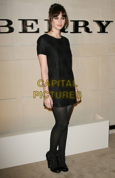 "Felicity Jones.""Burberry Body"" Burberry Fragrance Launch Party held at Burberry Beverly Hills, Los Angeles, California, USA..26th October 2011.full length black dress tights shoes.CAP/ADM.©AdMedia/Capital Pictures."