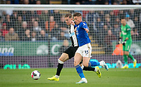 Emil Krafth of Newcastle United & Harvey Barnes of Leicester City during the Premier League match between Leicester City and Newcastle United at the King Power Stadium, Leicester, England on 29 September 2019. Photo by Andy Rowland.