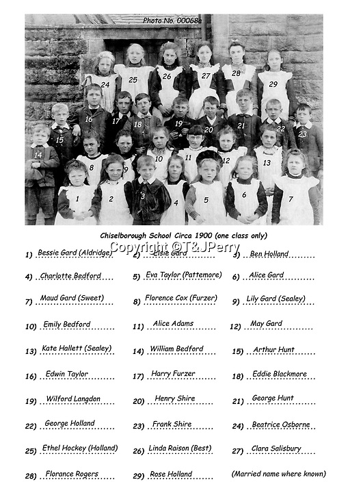 BNPS.co.uk (01202 558833)<br /> Pic: T&JPerry/BNPS<br /> <br /> 1900 school photograph with names of all the pupils.<br /> <br /> The little changed Somerset village of Chiselborough whose residents have pieced together their history in photographs.<br /> <br /> A rural village's community has painstakingly put together its social history over the last 40 years, which is now going on display.<br /> <br /> Tony and June Perry first started collecting images of Chiselborough, in south Somerset, 40 years ago for the project which celebrates the village's people, traditions and buildings.<br /> <br /> Dozens of villagers have helped the couple compile 600 photos which are finally going to be shown in a new exhibition.<br /> <br /> The images, which date back to the 1860s, highlight many notable events in Chiselborough's history including the fire of 1890 which saw the pub burn down.<br /> <br /> Other photos show the silver jubilee party of 1935, a school fancy dress day in 1954 and the renovation of the village's 12th century church in 1971.<br /> <br /> Situated on the River Parrett, Chiselborough is five miles west of Yeovil and has a population of just 275 people.