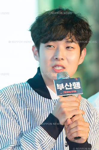 "Choi Woo-shik, June 21, 2016 : South Korean actor Choi Woo-shik attends a press conference for his new movie,""Train to Busan"" in Seoul, South Korea. The zombie-action movie was filmed by recognized animator, Yeon Sang-ho and was premiered at Cannes Film Festival in the out of competition ""Midnight Screenings"" category this year. (Photo by Lee Jae-Won/AFLO) (SOUTH KOREA)"