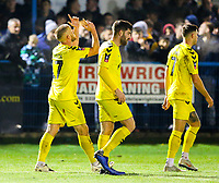 Fleetwood Town's Paddy Madden celebrates with teammates after scoring the opening goal <br /> <br /> Photographer Alex Dodd/CameraSport<br /> <br /> The Emirates FA Cup Second Round - Guiseley v Fleetwood Town - Monday 3rd December 2018 - Nethermoor Park - Guiseley<br />  <br /> World Copyright © 2018 CameraSport. All rights reserved. 43 Linden Ave. Countesthorpe. Leicester. England. LE8 5PG - Tel: +44 (0) 116 277 4147 - admin@camerasport.com - www.camerasport.com