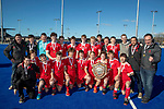 St Bede's College celebrate with the India Shield. Rankin Cup and India Shield 2019 Secondary School Hockey Tournament, Nga Puna Wai Sports Hub, Christchurch, Saturday 07 September 2019. Photo: Martin Hunter/Hockey NZ