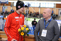 SPEEDSKATING: BERLIN: Sportforum Berlin, 28-01-2017, ISU World Cup, Håvard Holmefjord  Lorentzen (NOR), Tron Espeli (ISU First Vice President Speed Skating), ©photo Martin de Jong